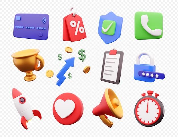 Set di rendering 3d icona ad alta risoluzione su sfondo bianco. set di icone di rendering 3d.