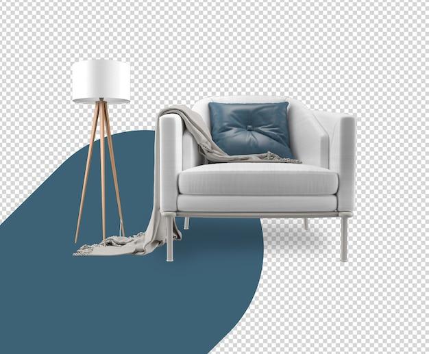Set decorazioni con divano, poltrona, rendering di lampade