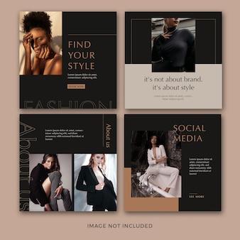 Set di modello di banner quadrato di moda