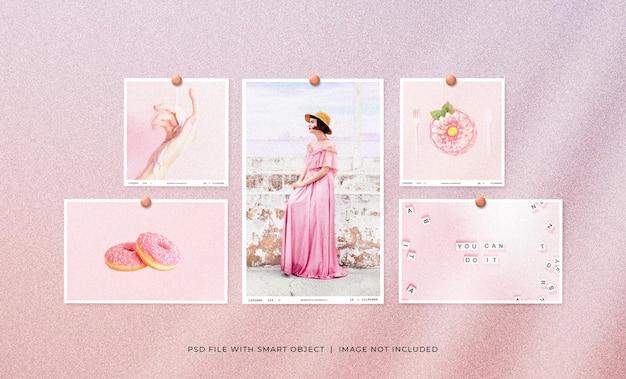 Set di mockup di cornice per foto polaroid femminile