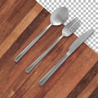 Set di forchetta, coltello e cucchiaio isolati su trasparenza