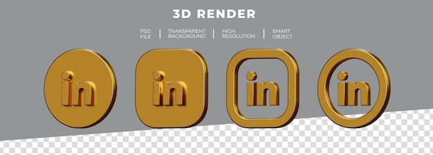 Set di golden linkedin logo rendering 3d isolato