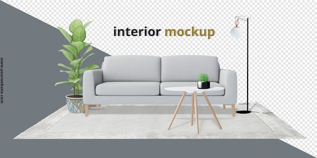 Impostare la decorazione degli interni impostata in 3d rendering mockup