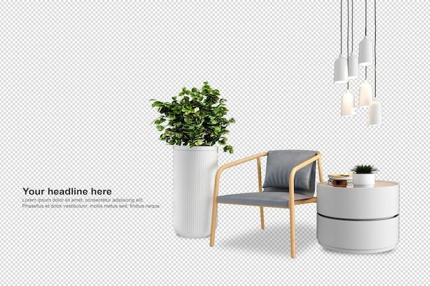 Set di mobili per interni in rendering 3d