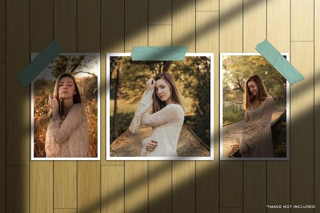 Set di mockup di foto con cornice di carta con sovrapposizione di ombre della finestra e sfondo in legno