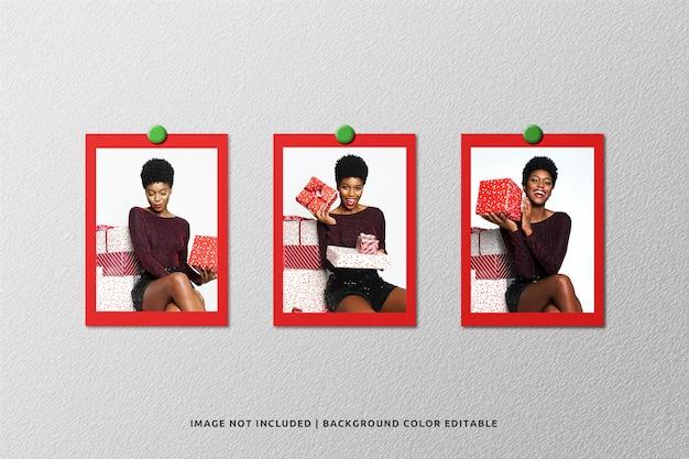 Set di mockup di foto cornice di carta ritratto per natale