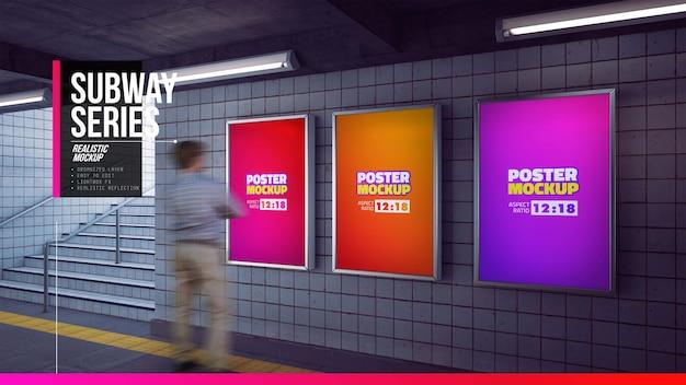 Serie di poster mockup all'ingresso della stazione della metropolitana