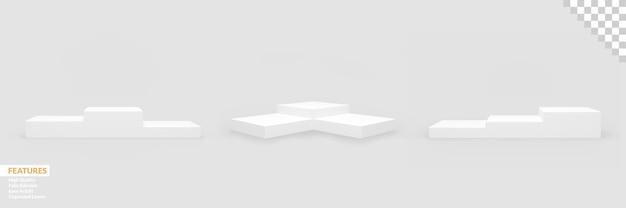 Set di scene realistiche sul podio del prodotto vuoto con sfondo modificabile