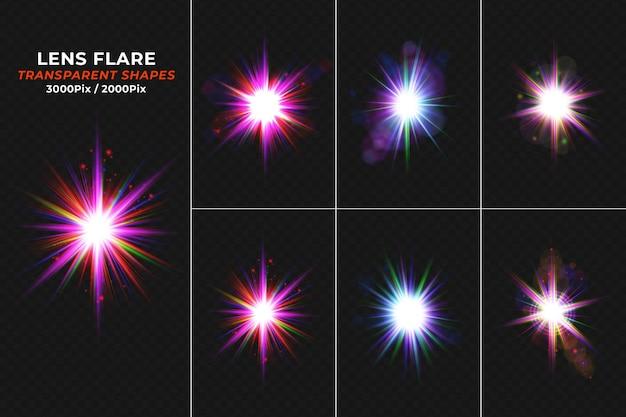 Set di bagliori realistici di lenti luminose