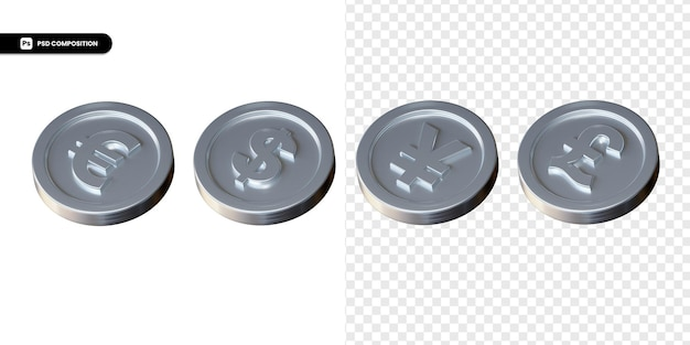 Set di moneta di scambio d'argento rendering 3d isolato