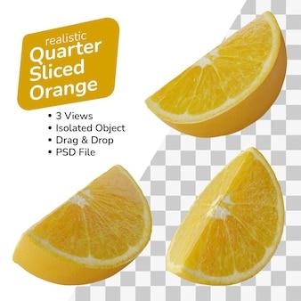 Set di un quarto di pezzo affettato di arance limone isolato