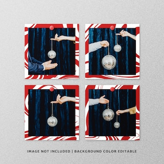 Set di mockup di cornice di carta quadrata per natale