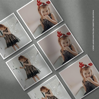 Set di mockup con cornice di carta quadrata e sovrapposizione di ombre