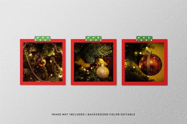 Set di mockup di foto con cornice di carta quadrata per natale