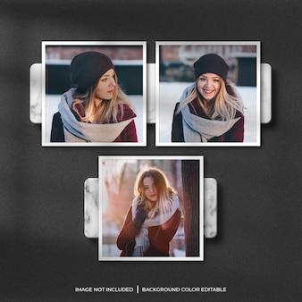 Set di mockup di foto con cornice di carta quadrata con ombra e sfondo di marmo