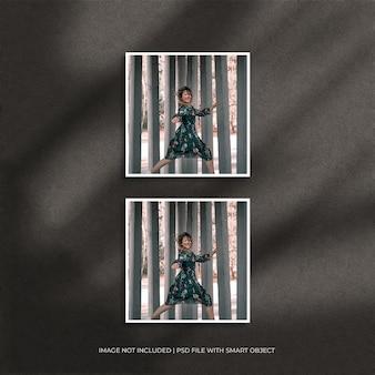 Set di mockup di foto con cornice di carta quadrata con ombra