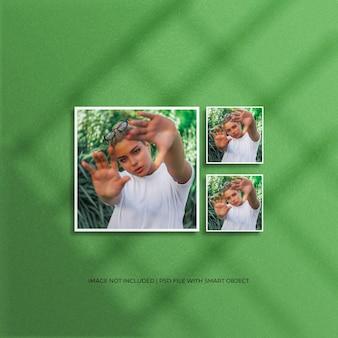 Set di mockup di foto con cornice di carta quadrata