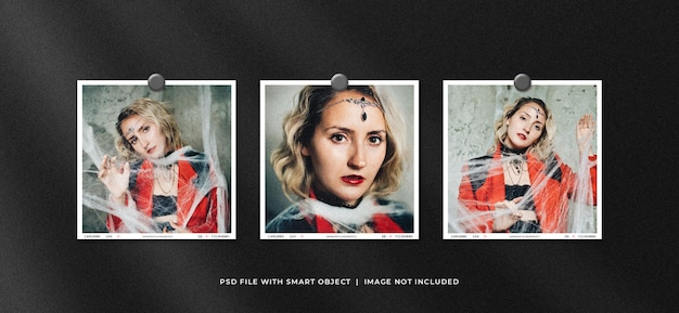 Set di square polaroid photo frame set mockup
