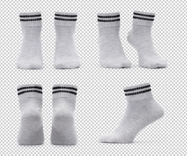 Set di vari mockup di calzini dell'equipaggio grigi