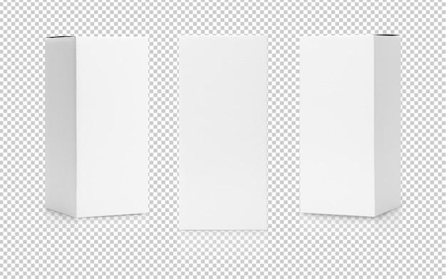 Set di confezione del prodotto di forma alta scatola bianca in vista laterale e modello di modello di vista frontale