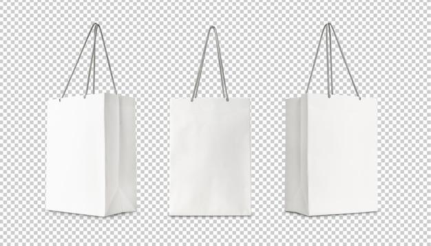 Set di carta bianca shopping bag mockup design isolato