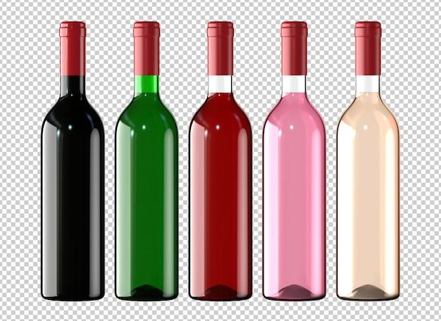 Set di bottiglie di vino bianche, rose e rosse