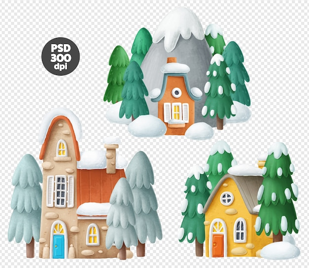Set di case invernali nella neve