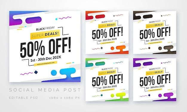 Set di modelli di vendita per modello di post banner social media