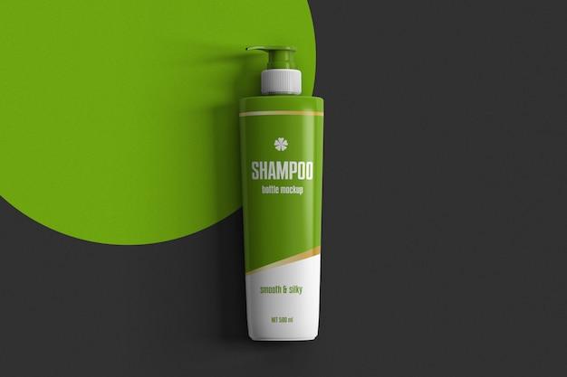 Bottiglia di shampoo sul modello di scena superficie vista dall'alto