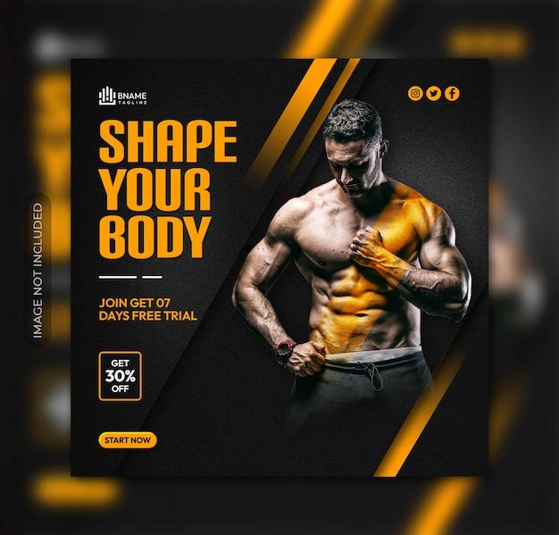 Modella il volantino quadrato del tuo corpo o il modello di post sui social media di instagram