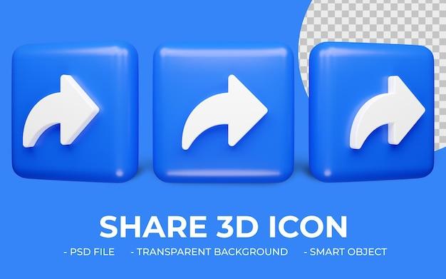 Condividi, inoltra o rispondi icona rendering 3d isolato