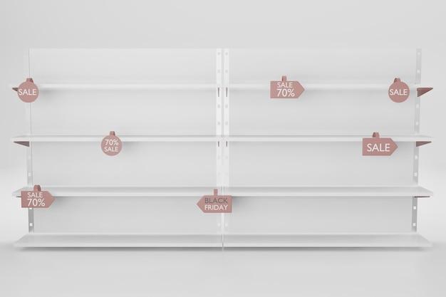 Mockup di scaffale per l'inserimento di prodotti nell'illustrazione di rendering 3d