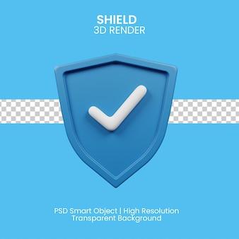 Illustrazione 3d dell'emblema dello scudo