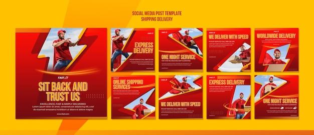 Modello di post sui social media di consegna di spedizione