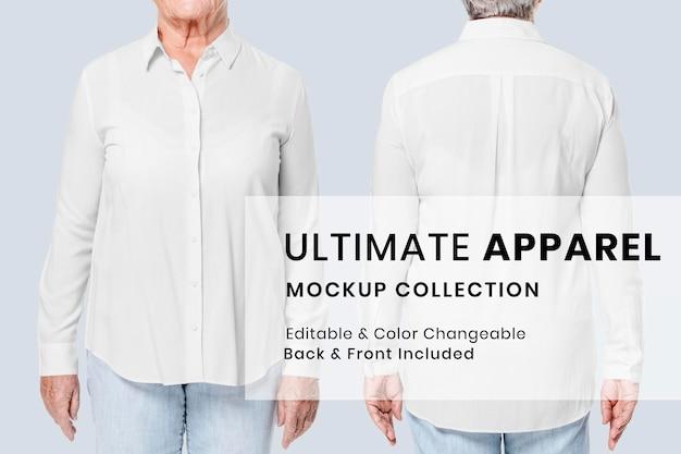 Camicia mockup psd annuncio di abbigliamento senior