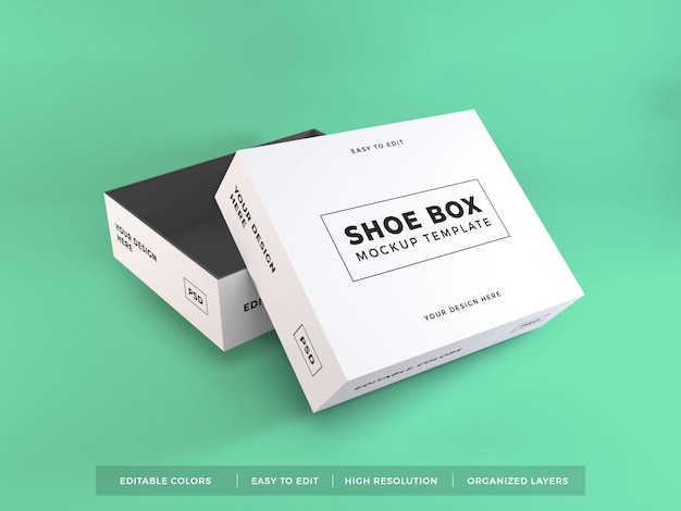 Mockup di imballaggio scatola di scarpe