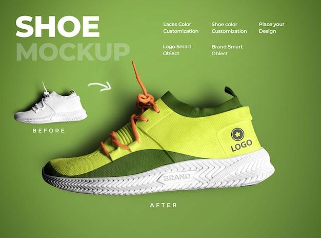 Progettazione di mockup di scarpe in rendering 3d
