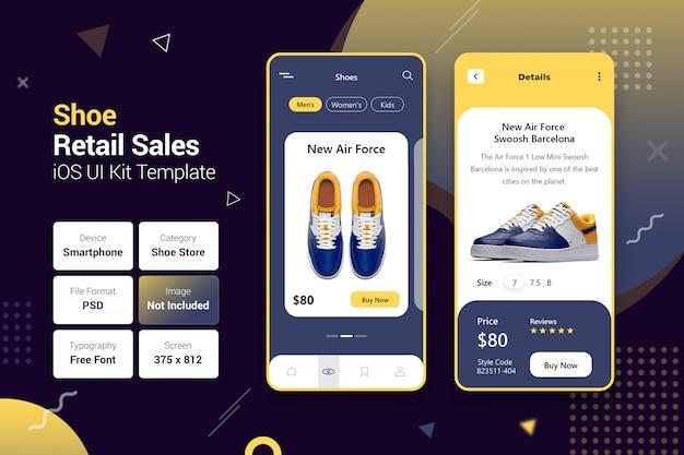 Negozio di scarpe vendita al dettaglio app mobili