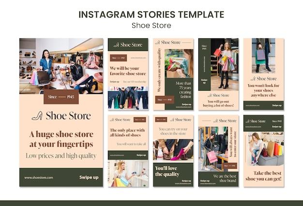 Modello di storie di instagram di concetto di negozio di scarpe