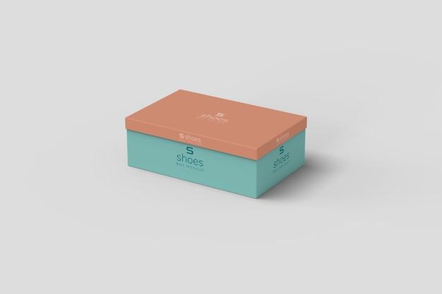 Mockup di scatola da scarpe vista ad angolo sinistro