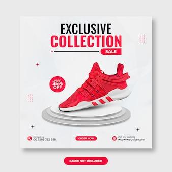 Promozione di vendita di scarpe modelli di banner per social media su instagram psd premium
