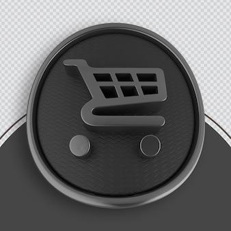 Icona dello shopping rendering 3d nero