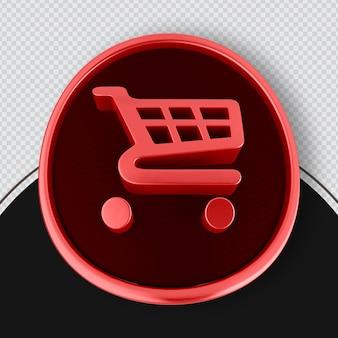 Icona dello shopping rendering 3d rosso