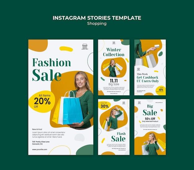 Modello di storie di instagram di vendita di acquisto