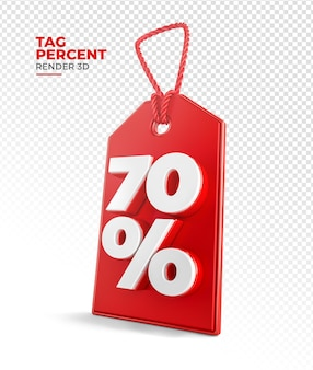 Shopping tag render 3d 70 per cento