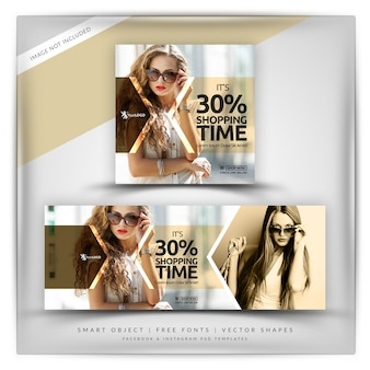 Shopping time instagram e facebook banner
