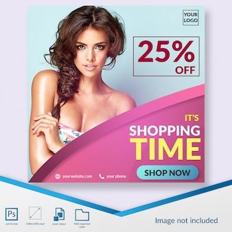 Tempo di shopping offre modello di post sui social media