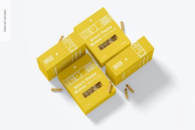 Mockup di scatole di pasta corta, vista dall'alto