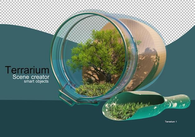 Mostra i risultati della disposizione di alberi e arbusti in una bottiglia di vetro