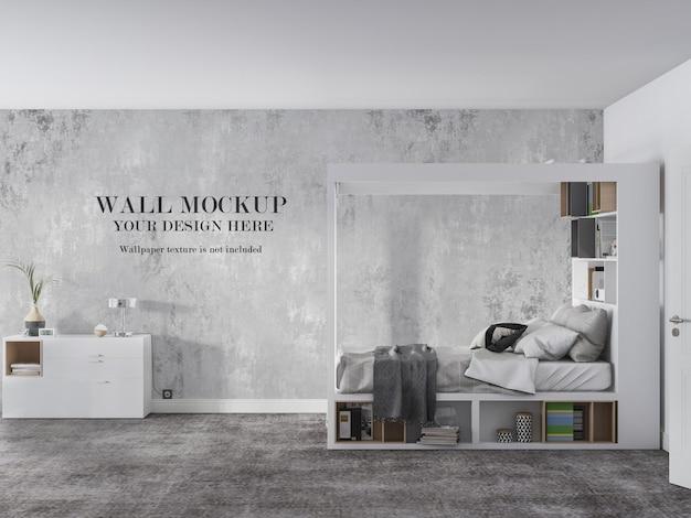 Mockup della parete della camera da letto con vista laterale
